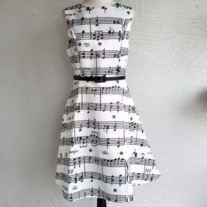 NWOT Black & White Music Note Dress